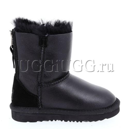 Детские угги на молнии кожаные черного цвета UGG Kids Short Zip Metallic Black