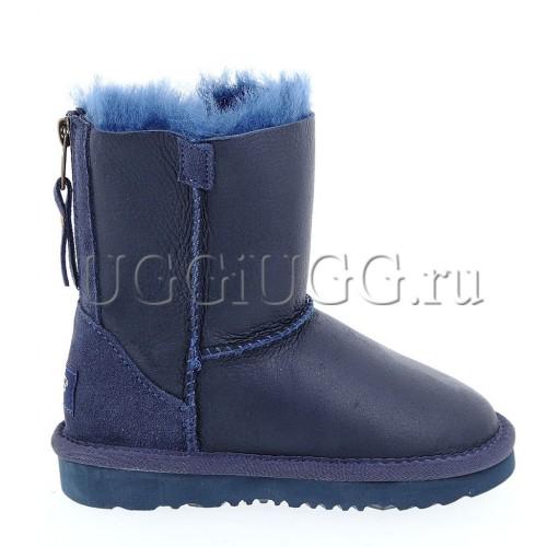 Детские угги на молнии кожаные синего цвета UGG Kids Short Zip Metallic Navy