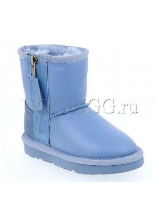 Детские угги голубые с молнией UGG Kids Short Zip Metallic Blue