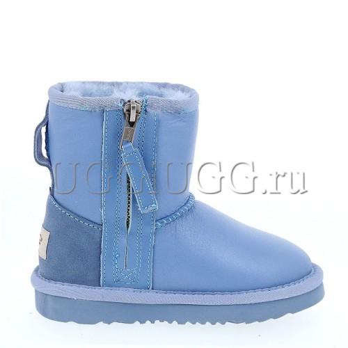 Детские угги с молнией голубые UGG Kids Short Zip Metallic Blue