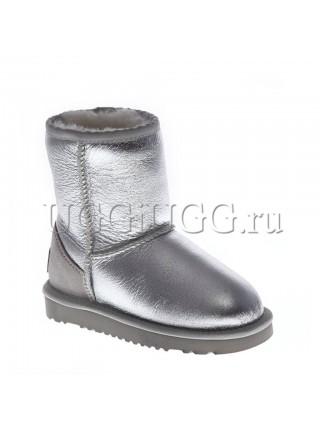 Детские угги серебристые UGG Kids Classic Short Metallic Silver