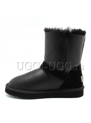 Детские угги с ремешком черные кожаные UGG Kids Blaise Metallic Black