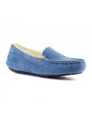 Мокасины угги с мехом голубые UGG Moccasins Ansley Sky Blue