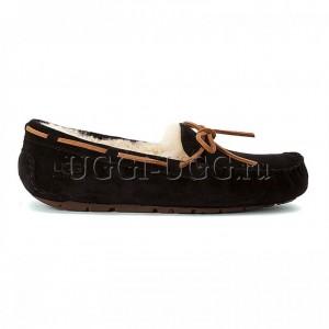 Женские мокасины с шнурком черные UGG Australia Moccasins Dakota Black