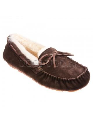 Женские мокасины с шнурком коричневые UGG Australia Moccasins Dakota Chocolate