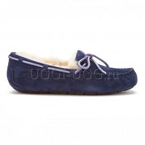 Женские мокасины с шнурком синие UGG Australia Moccasins Dakota Navy