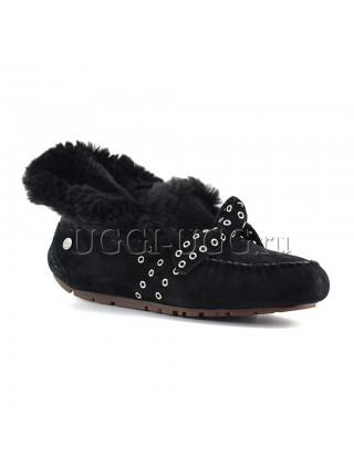 Женские угги мокасины черные с бантиком UGG Moccasins Poler Black