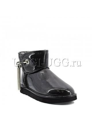 Черные мини угги с подвеской UGG & Jimmy Choo Mini L&C Black