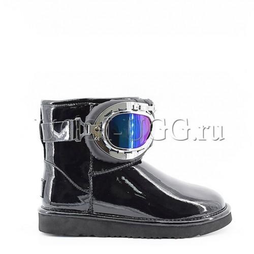 Лаковые угги с очками черные UGG & Jimmy Choo Motor Glasses