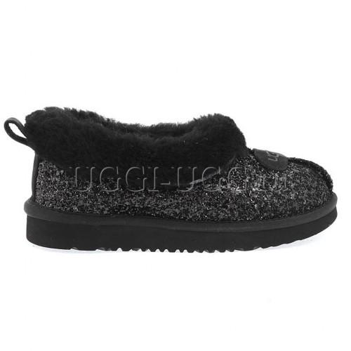 Черные блестящие слиперы UGG Slipper Rulan Stardust Black