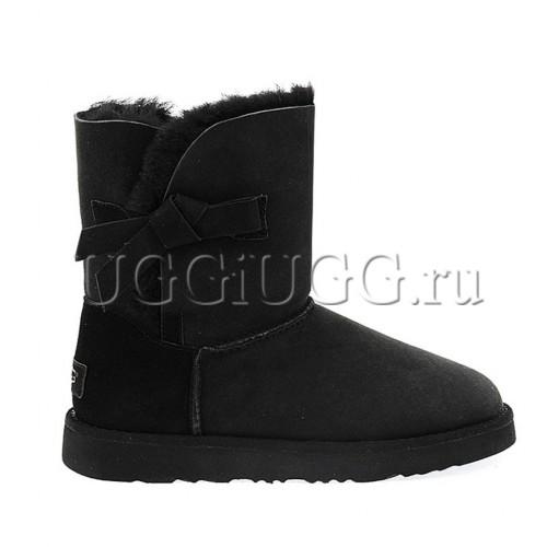 Угги с бантиком сбоку черные UGG Classic Knot II Black