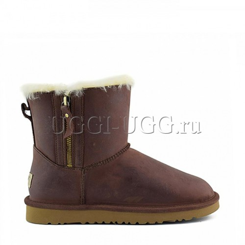 UGG Mini Double Zip Leather Chestnut