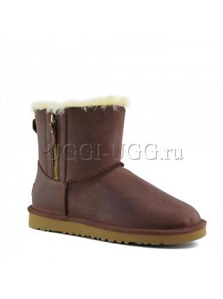 UGG Mini Double Zip Leather Chestnut