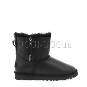 UGG Mini Double Zip Leather Black