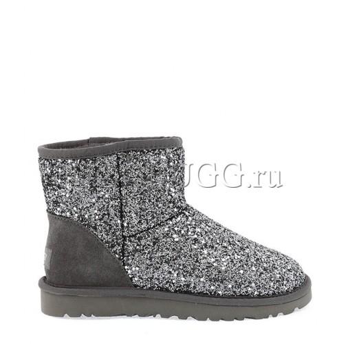Женские мини угги серые блестящие UGG Classic Mini Stardust Grey
