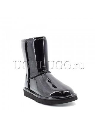 Короткие черные лаковые угги UGG Jimmy Choo Classic Patent II Black