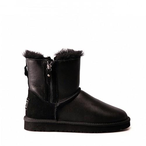 Мини угги с молнией сбоку черные кожаные UGG Mini Double Zip Metallic Black