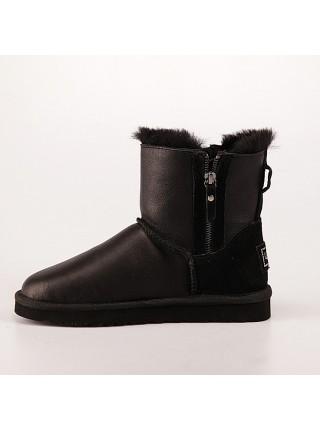 Угги с молнией сбоку черные кожаные UGG Mini Double Zip Metallic Black