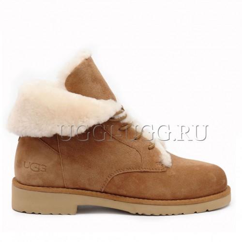 Женские угги ботинки каштановые UGG Quincy Boot Chestnut