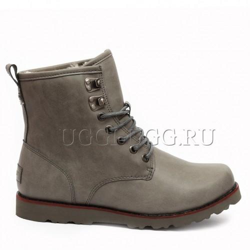 Мужские угги ботинки серые UGG Mens Hannen Leather Grey