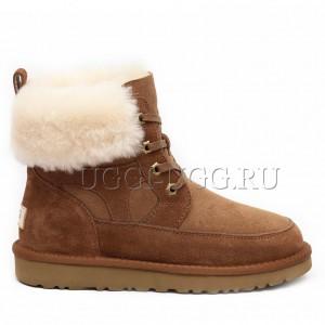 Женские ботинки угги на шнуровке рыжие UGG Liana Boot Chestnut
