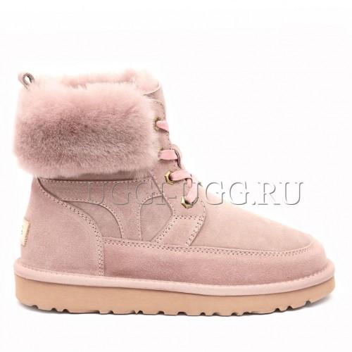 Женские ботинки угги на шнуровке розовые UGG Liana Boot Dusk