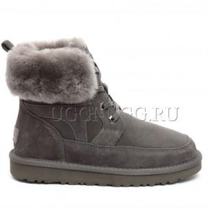 Женские ботинки угги на шнуровке серые UGG Liana Boot Grey