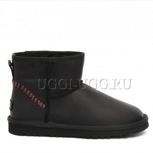 Мужские угги мини черные кожаные UGG Mens Classic Mini Deco Black