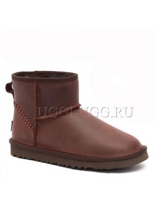 Мужские угги мини коричневые кожаные UGG Mens Classic Mini Deco Chocolate