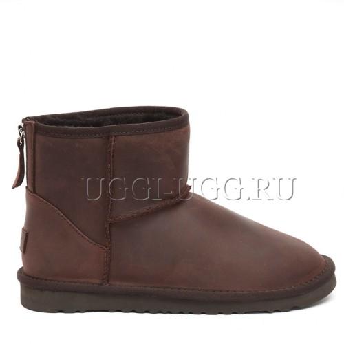 Коричневые мужские угги на молнии мини UGG Mens Classic Mini Leather Zip Chocolate