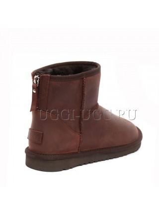 Мужские угги на молнии мини коричневые UGG Mens Classic Mini Leather Zip Chocolate