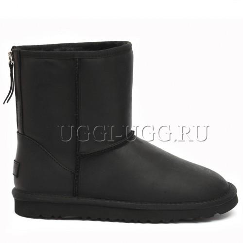 Короткие черные мужские угги на молнии UGG Mens Classic Leather Zip Black