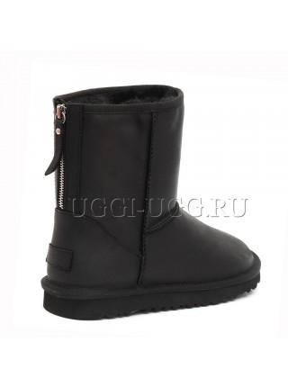 Черные мужские угги на молнии UGG Mens Classic Leather Zip Black