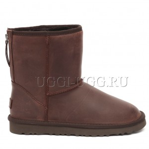 Коричневые мужские угги на молнии UGG Mens Classic Leather Zip Chocolate