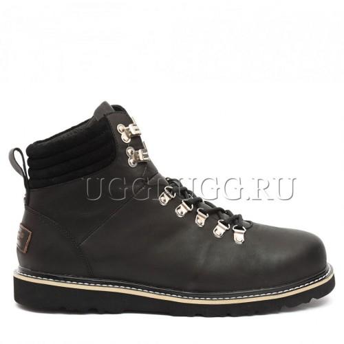 Мужские угги ботинки черные кожаные UGG Mens Capulin Black Nubuk