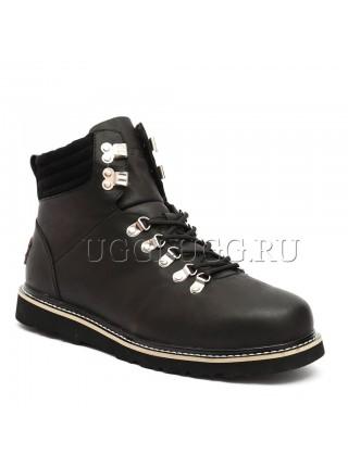 Мужские угги ботинки кожаные черные UGG Mens Capulin Black Nubuk