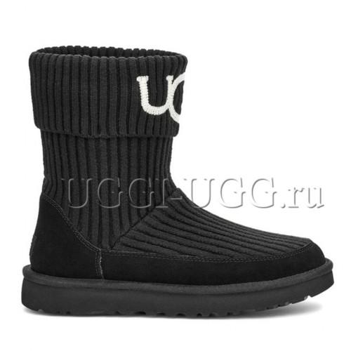 Вязаные угги черные UGG Classic Knit Black