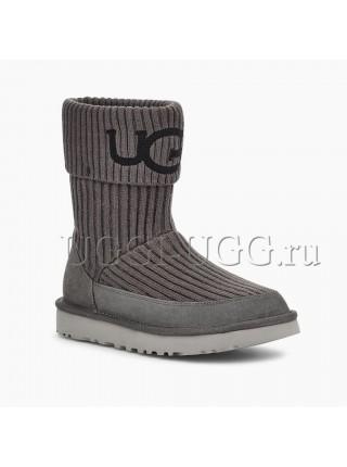 Вязаные угги серые UGG Classic Knit Grey