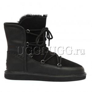 Черные угги на шнурках UGG Classic Short Lodge Black