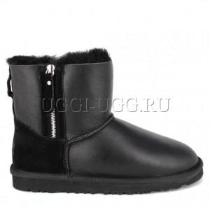Мужские угги на молнии черные обливные UGG Double Zip Mini Boot Mens Metallic Black