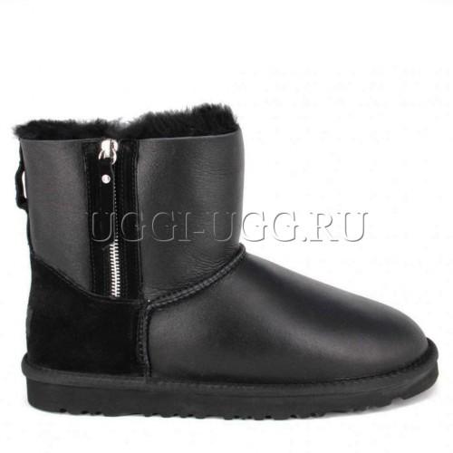 Мужские черные обливные угги на молнии UGG Double Zip Mini Boot Mens Metallic Black