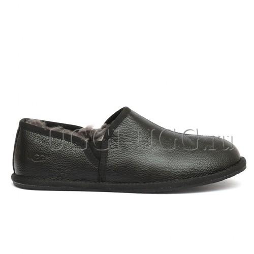 Мужские черные кожаные слиперы UGG Men's Scuff Romeo II Metallic Black