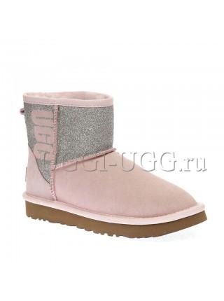 Мини угги с логотипом розовые UGG Classic Mini Logo Sparkle Seashell Pink