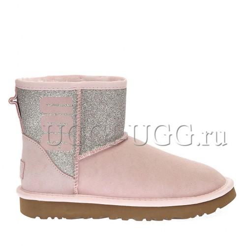 Угги мини с логотипом розовые UGG Classic Mini Logo Sparkle Seashell Pink