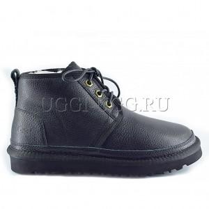 Женские ботинки угги черные кожаные UGG Neumel Boot Leather Black