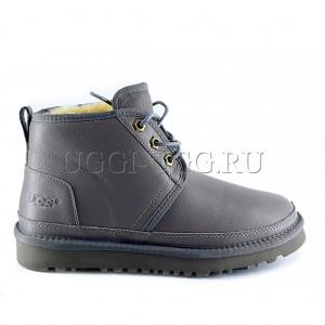 Женские ботинки угги серые кожаные UGG Neumel Boot Leather Grey