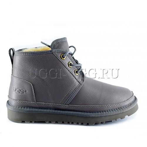 Женские угги ботинки кожаные серого цвета UGG Neumel Boot Leather Grey