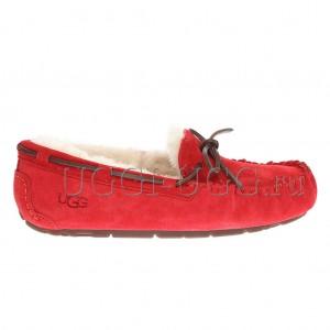 Женские мокасины с шнурком красные UGG Moccasins Dakota Red