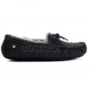 Мокасины черные блестящие UGG Moccasins Dakota Sparkle Black