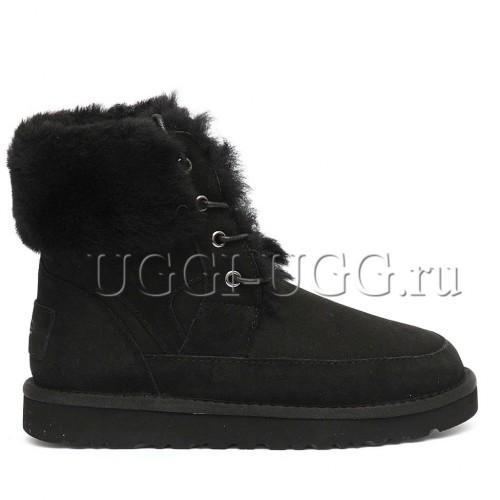 Женские ботинки угги на шнуровке черные UGG Liana Boot Black